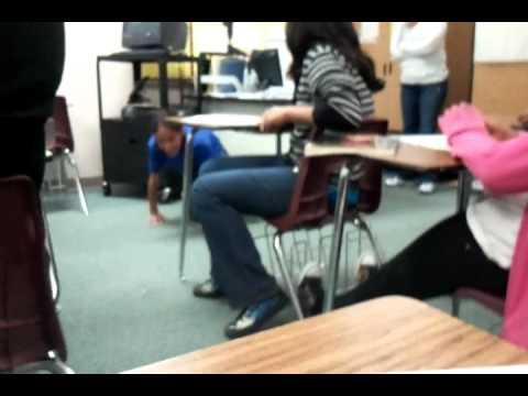 Crazy Kid Was Hiding Under The Teachers Desk