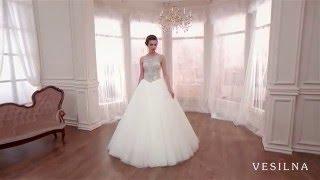 Пышное свадебное платье с камнями и шлейфом от VESILNA™ модель 3011