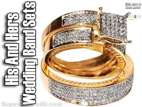 His And Hers Wedding Band Sets Wedding Bands Sets Plain Gold