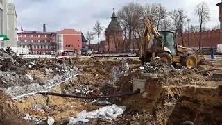 Раскопки на Крестовоздвиженской площади в Туле