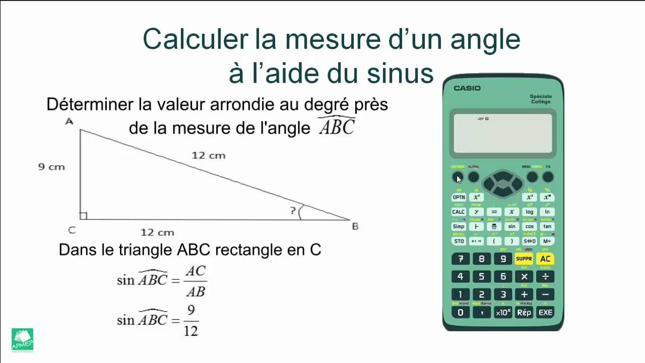 Calculer la mesure d 39 un angle l 39 aide du sinus avec la casio coll ge youtube - Comment couper un angle a 45 degres ...