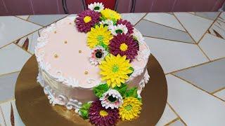 Торт с герберами для мамы. Первый!