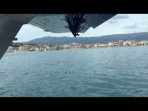 Timelapse of seaplane taxi and takeoff in Croatia
