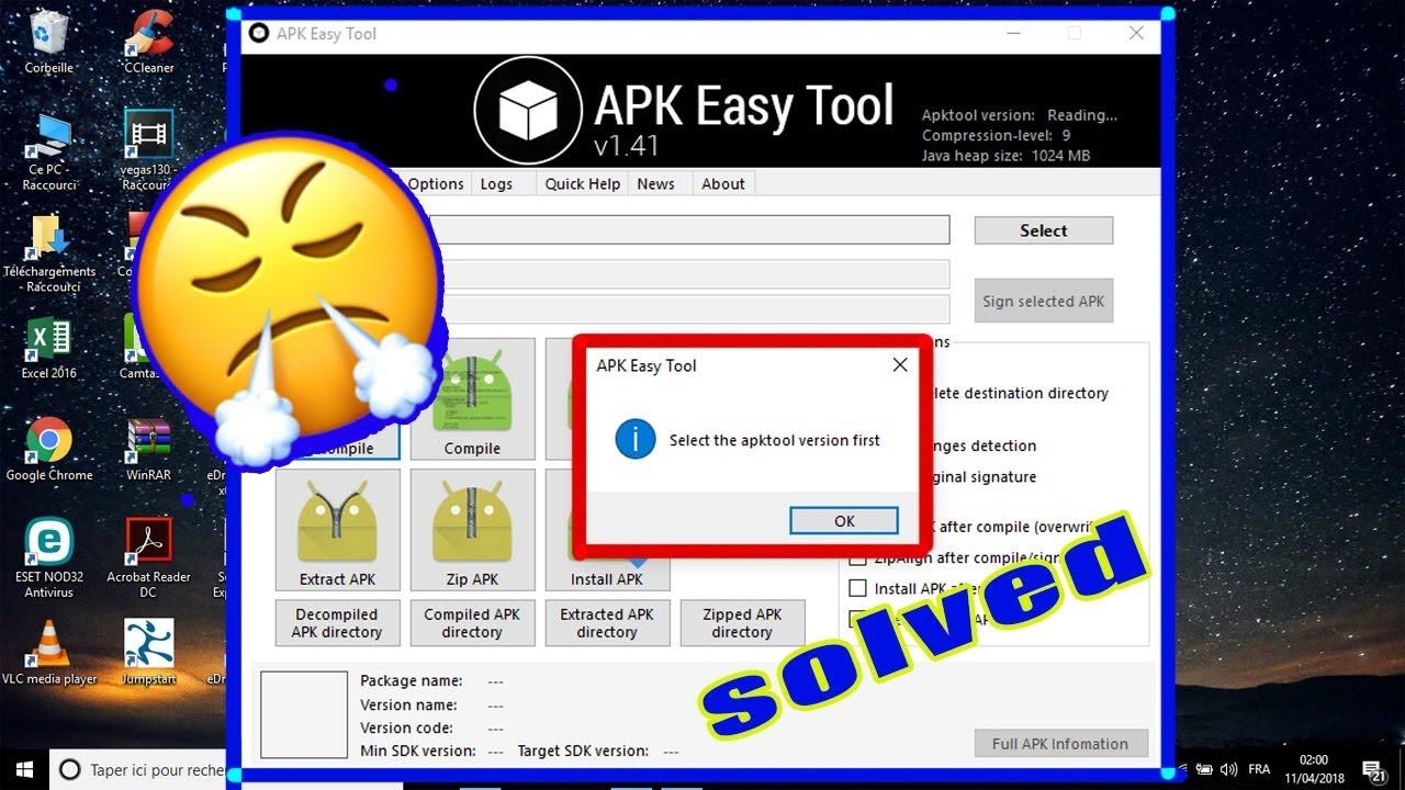 fix select Apktool version first in Apk Easy Tool حل مشكل الهندسة العكسية