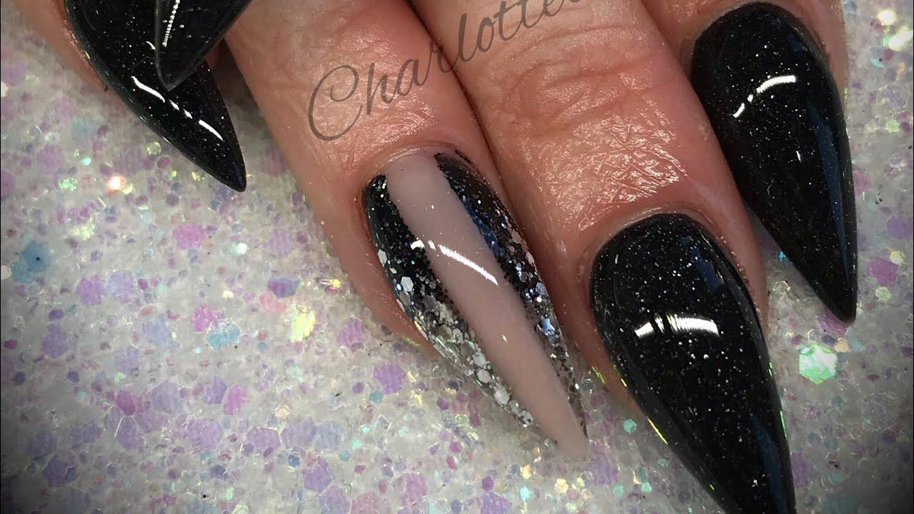 Acrylic Nails Black Design Set Youtube