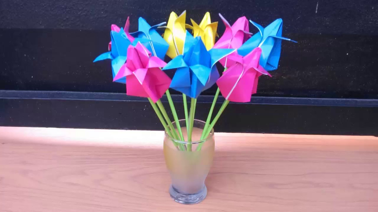Cara Membuat Origami Bunga Tulip Youtube