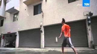 """صباح الورد - فيديو عن """" شاب يتحدى الرياح في كرة الريشة """""""
