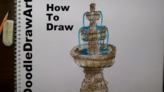 Drawing: How To Draw a Fountain - step by step - Subscriber Request