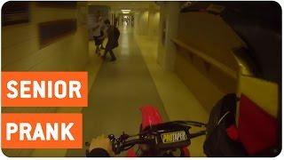Dirt Bike Through School Hall   Senior Prank