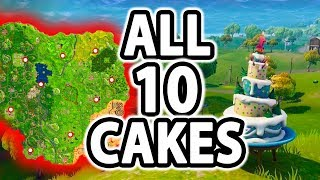 HOW TO FIND ALL 10 BIRTHDAY CAKES - DANCE IN FRONT OF 10 CAKES CHALLENGE - FORTNITE BATTLE ROYALE