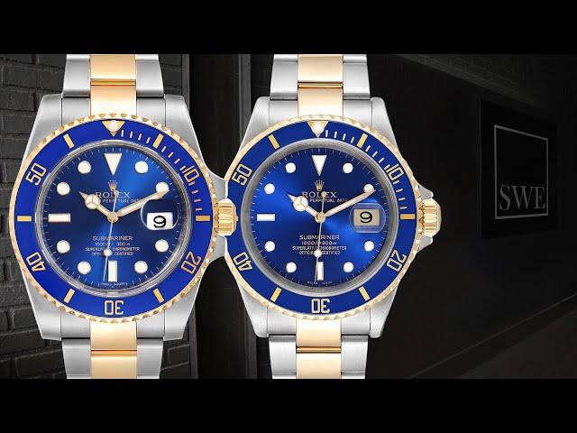 Rolex Submariner Blue Dial Steel Yellow Gold Mens Watch 16613 vs116613 Comparison | SwissWatchExpo