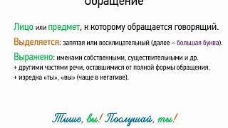 Обращение (8 класс, видеоурок-презентация)