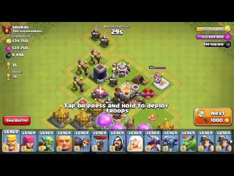 Clash of clans unlimited troops attack 1000 wall breaker and 1000 lava hound..