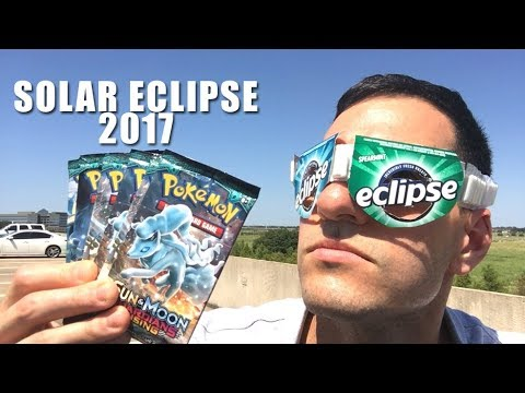 MADE MY OWN SOLAR ECLIPSE 2017 GLASSES and OPENING POKEMON CARD SUN AND MOON PACKS During Eclipse!