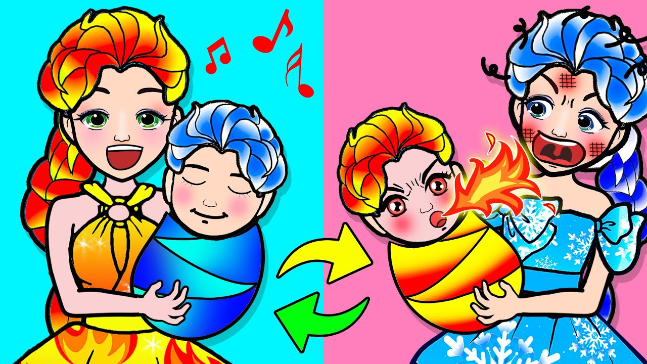 Paper Dolls Dress Up - HOT vs COLD Challenge with Elsa Frozen and Fire Dress - Barbie Story & Crafts