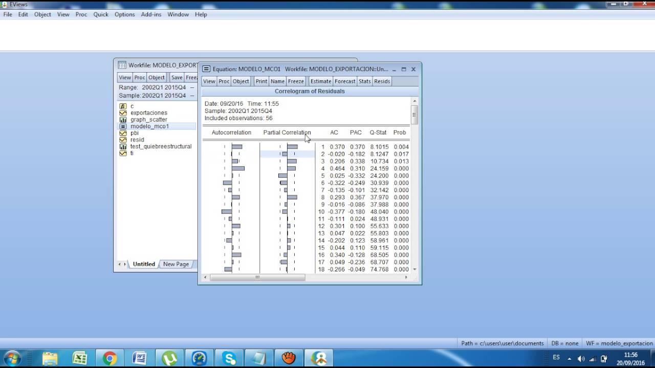 Tesis & Econometría: Autocorrelacion en el Modelo de Exportaciones usando  EVIEWS 8