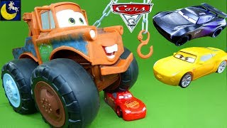 HUGE Max Tow Mater Monster Truck Disney Cars 3 Toys Crash Lightning McQueen Jackson Storm Race Toys!