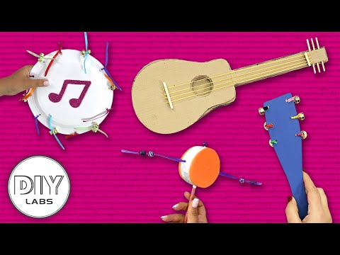4 Amazing MUSIC INSTRUMENTS Crafts | Fast-n-Easy | DIY Labs