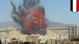 Yemen bombing: Airstrike footage show massive missile base explosion after Saudi-led attack