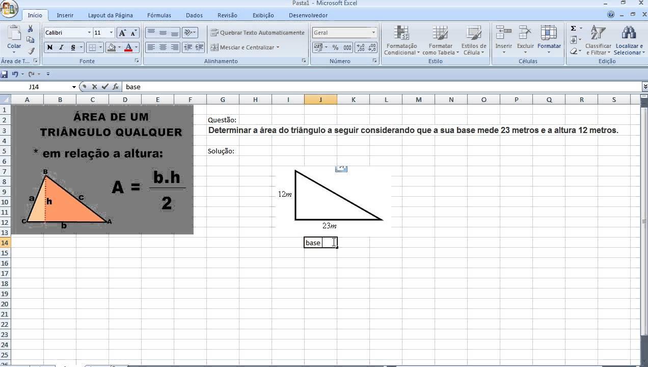 Curso de Matemática Área do Triângulo com Excel Aula de Geometria ...