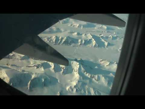 FLIGHT OVER SVALBARD. LYR AIRPORT LANDING. LONGYEARBYEN.
