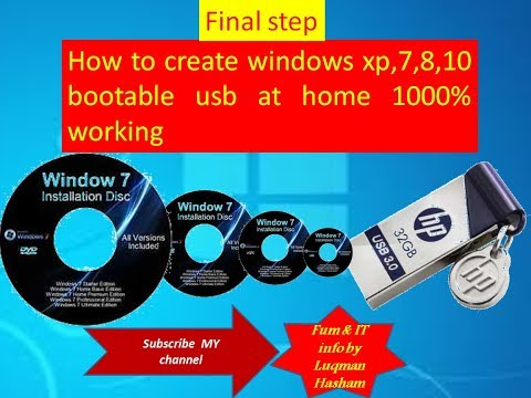 How to create windows xp,7,8,10 bootable usb at home 1000% working