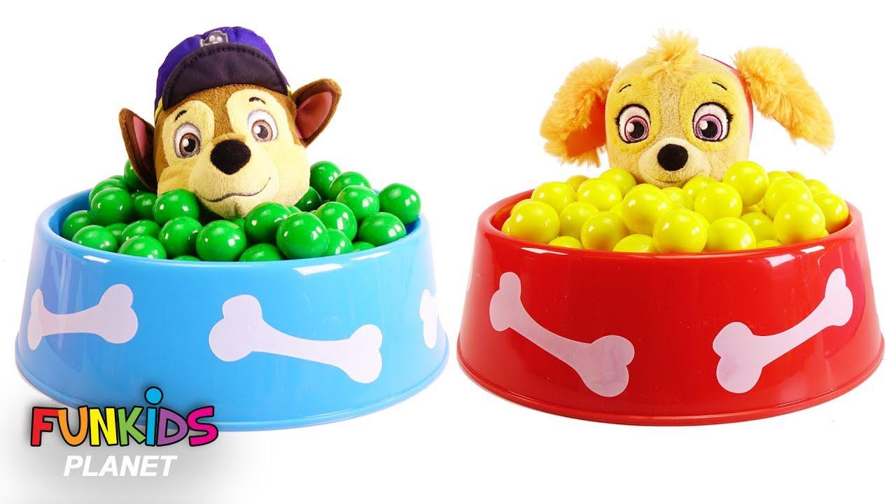 Poppy Trolls & Paw Patrol Dog Food Bowl Full of Magical Gumballs ...