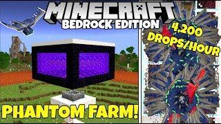 Minecraft Bedrock: PHANTOM EXP Farm Tutorial! 4,200 Membranes/Hour! MCPE Xbox PC