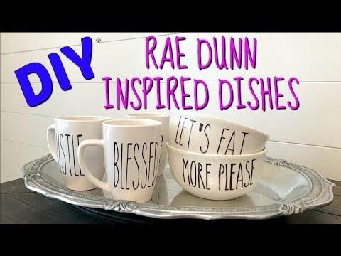 DIY RAE DUNN INSPIRED DISHES   DIY Farmhouse Decor   DIY coffee mugs