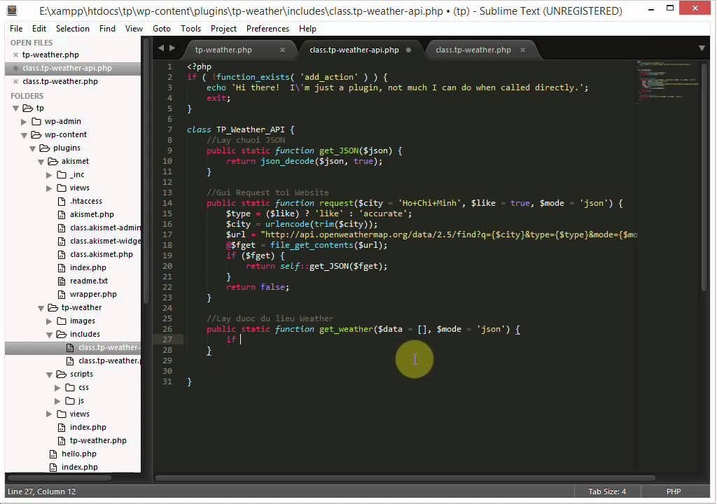 [Lập trình plugin TP Weather] - Phần 3 - Tạo thư viện tương tác API