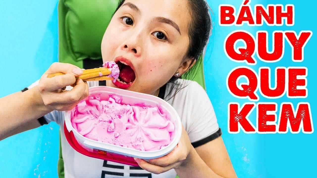 Trò Chơi Ăn Bánh Quy Que Hàn Quốc Chấm Sữa Vinamilk Vị Dâu ❤ kn cheno chị hằng