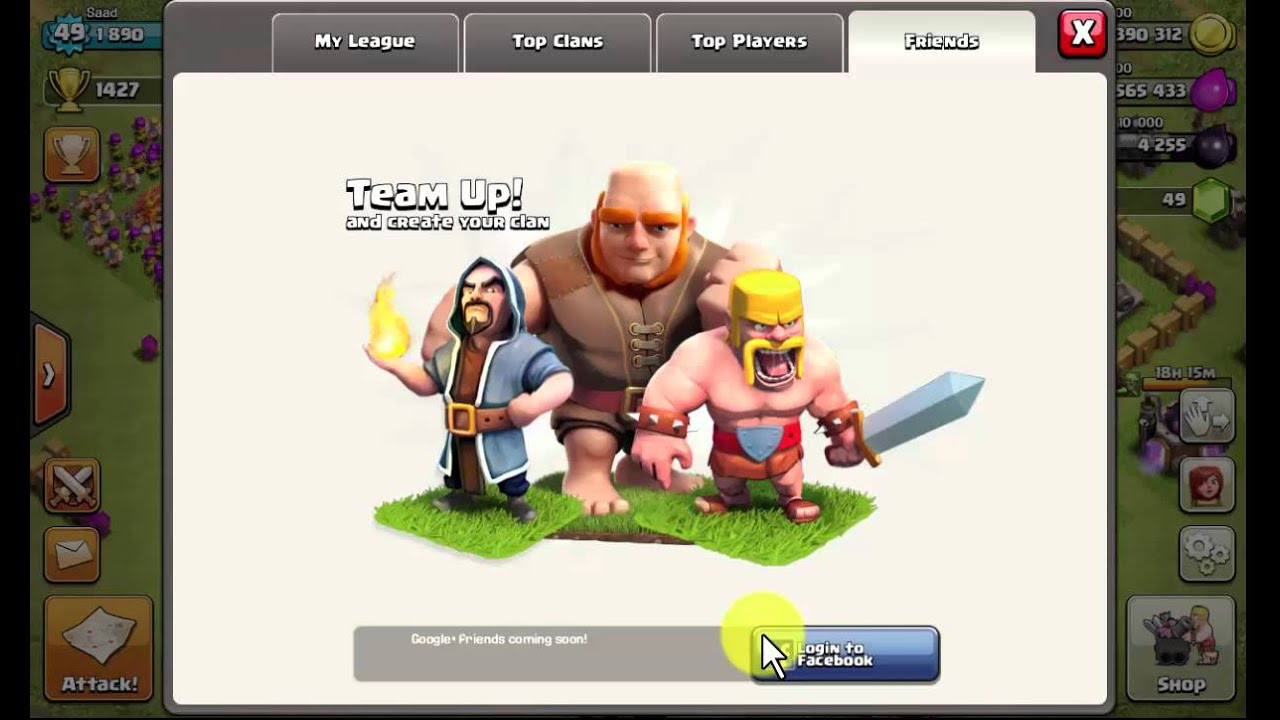 invite fb friends in your clan in clash of clans YouTube