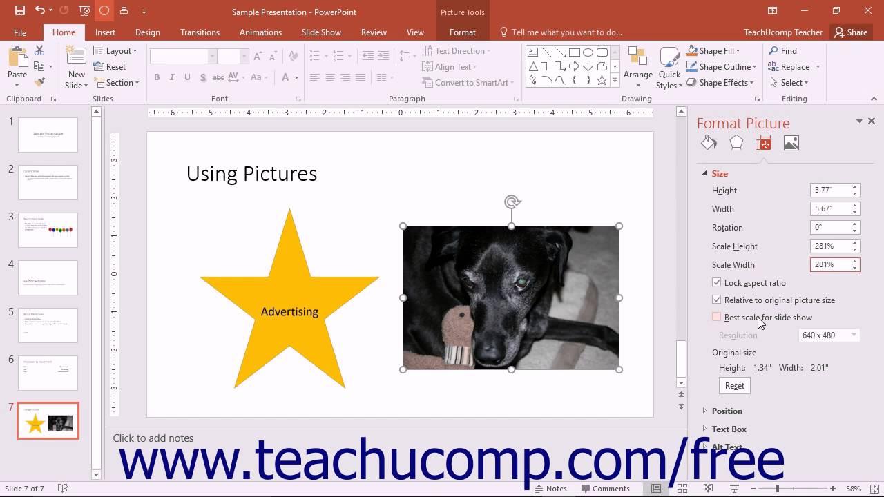 PowerPoint 2016 Tutorial Size & Properties Settings Microsoft Training