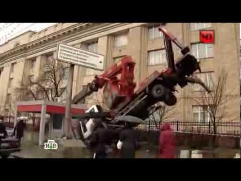 Москва.У здания МАДИ опрокинулась автовышка