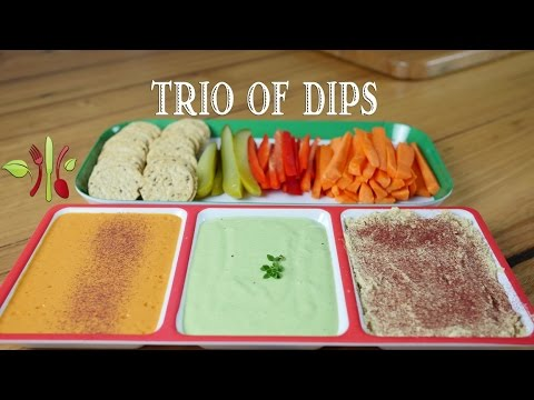 Trio of dips: Red Capsicum, Zucchini & Lemon Thyme, Hummus (Vegan, oil-free)