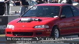 V6 Civic Coupe Vs Civic hatchback at IMPORT FACE-OFF Gainesville, FL