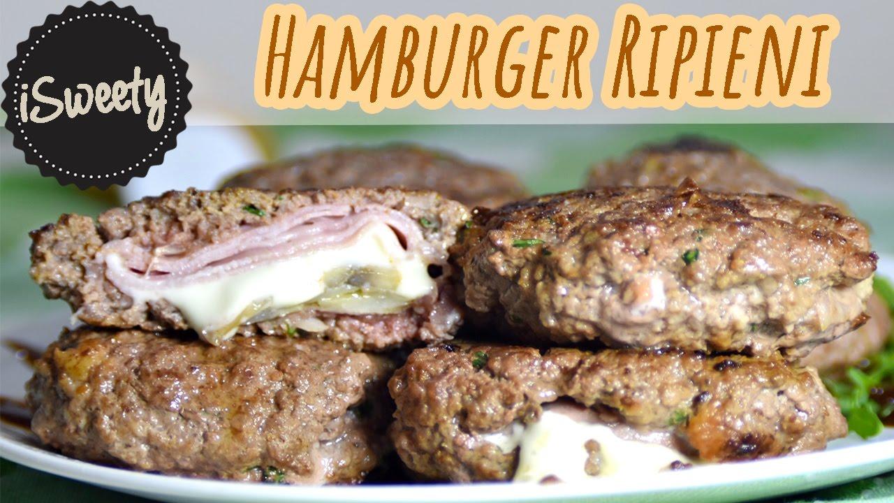 ricetta hamburger in padella ripieni ai funghi e prosciutto con formaggio filante