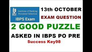 Puzzle Asked in Ibps po prelims 2018    Question asked in ibps po pre 2018