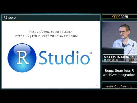 "CppCon 2015: Matt P. Dziubinski ""Rcpp: Seamless R and C++ Integration"""