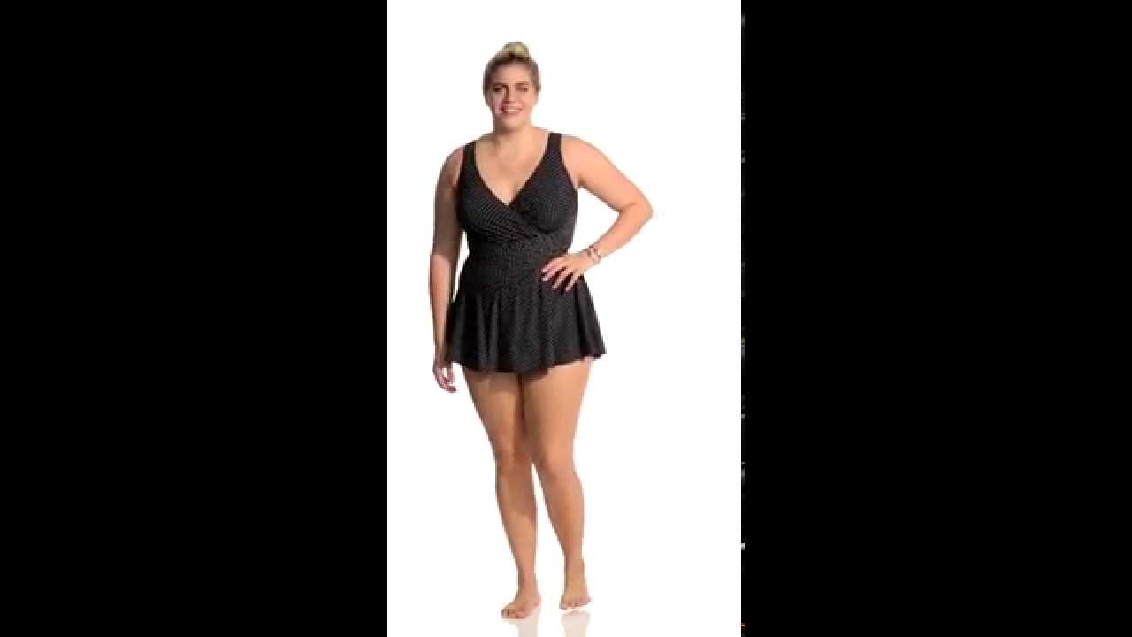 4478de55b956d Miraclesuit Plus Plus Size Pin Point Swimdress | SwimOutlet.com ...