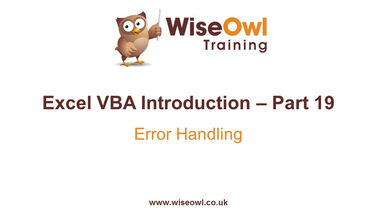Excel Vba Introduction Part 19 Error Handling On Error Resume