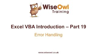 Excel VBA Introduction Part 19 - Error Handling (On Error, Resume, GoTo)