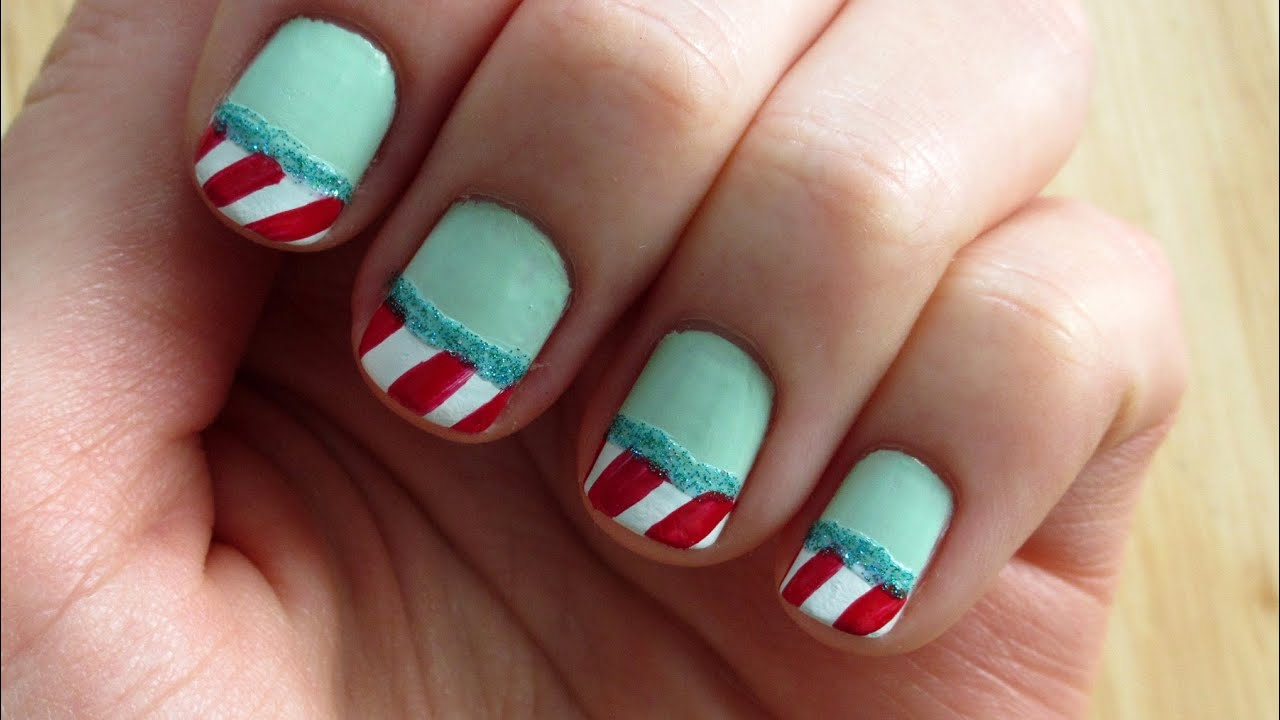 Christmas Nail Art: Candy Cane French Tip Tutorial - YouTube