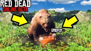 FEEDING GRIEFER TO GRIZZLY BEAR in Red Dead Online! Red Dead Redemption 2 Funny Moments RDR2 Online!