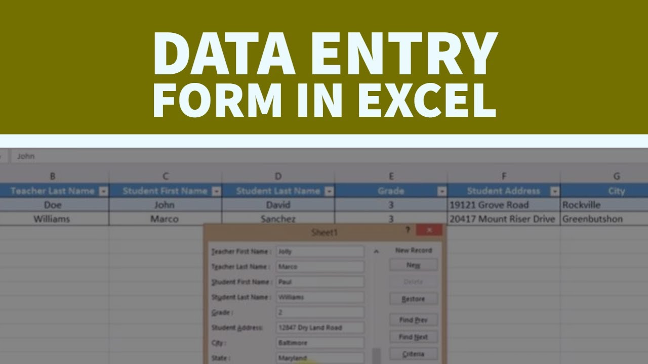 how to create a data entry form in a very easy way