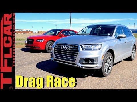 2017 Audi Q7 vs Chrysler 300S Mashup Drag Race: Big Sedan vs Bigger Crossover!