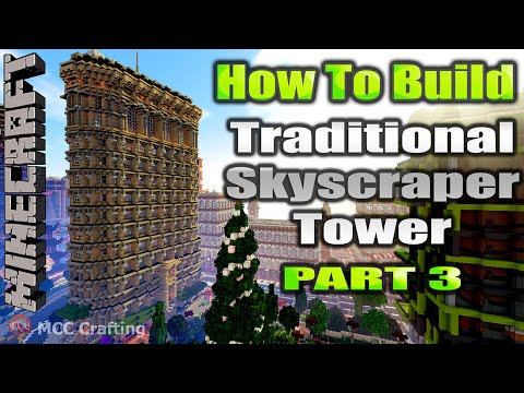 Minecraft How To Build Traditional Skyscraper Tower Flatiron Building Inspired Part 3