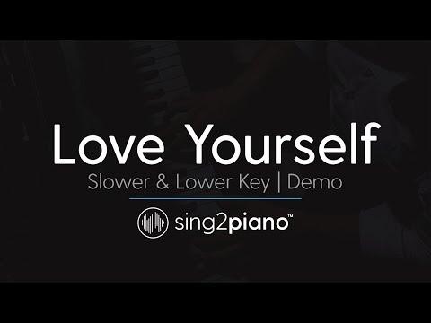 Love Yourself (SLOWER Female Key - Piano karaoke demo) Justin Bieber