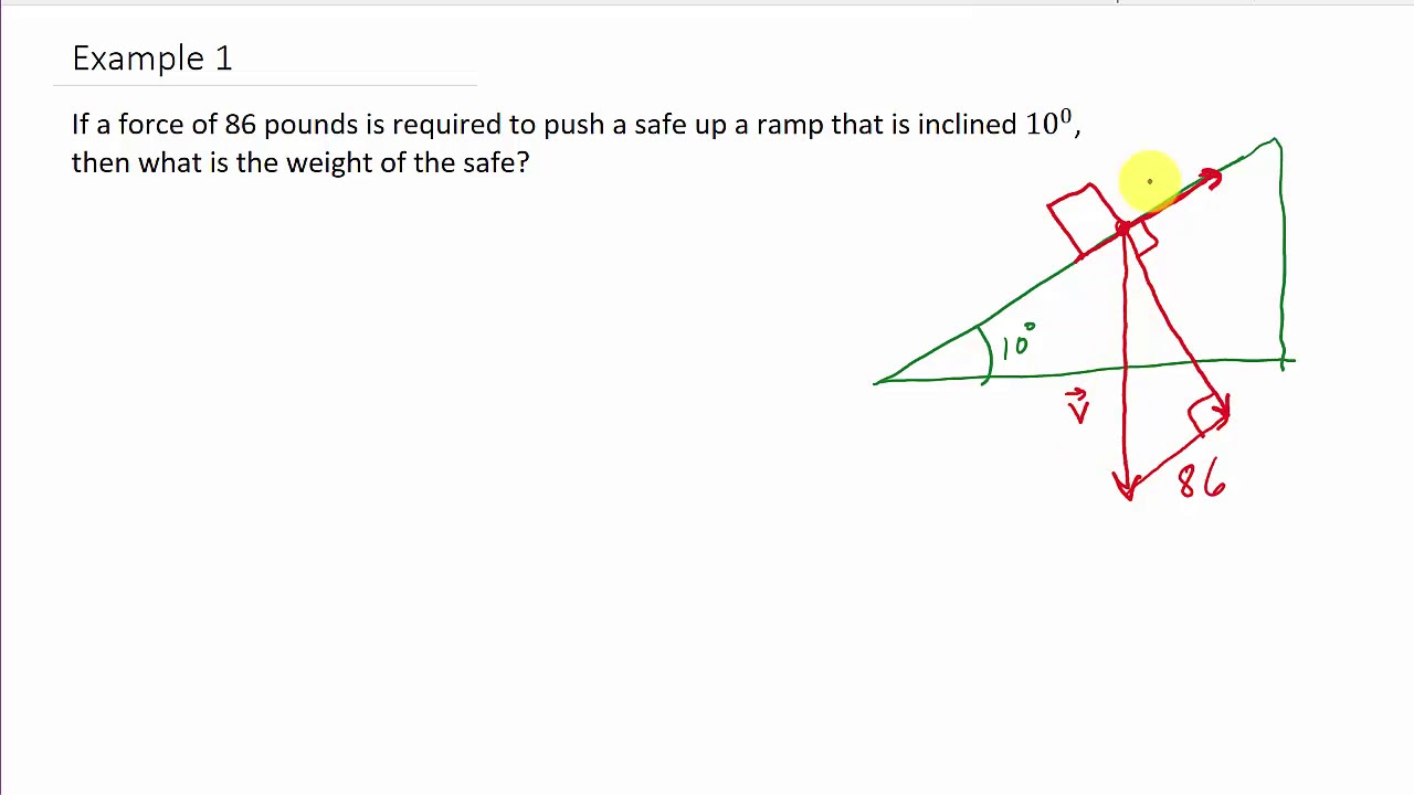 Vector Application: Find the Weight of a Safe Given Force to Hold It on a  Ramp