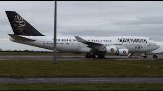 Video Iron Maiden - 'Ed Force One' Boeing 747 - Spectacular Takeoff at Cardiff Airport (CWL/EGFF) download MP3, 3GP, MP4, WEBM, AVI, FLV Juni 2018